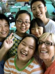 Michelle with her students in China