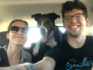 On our way to hike with friends and their dog, Alma, in Colorado.