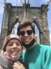 Me and my girlfriend Lucie walking the Brooklyn Bridge.