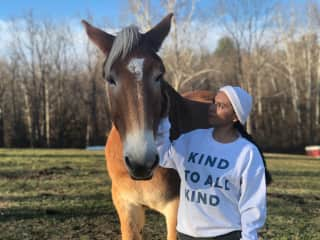 A horse Ericka fell in love with while we volunteered at an animal sanctuary. Her sweatshirt says it all.