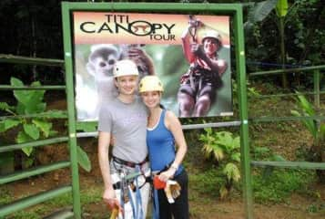 Kali and Ryan Ziplining in Costa Rica in 2013