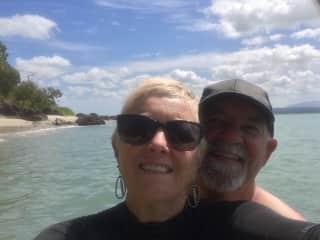 Ken and I enjoying a swim at Dunk Island
