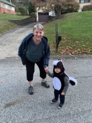 Me with my little pet skunk (grandson) on Halloween LOL