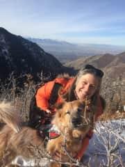Enjoying a favorite local hike overlooking Salt Lake City, UT with my sweet dog sit, Idaho