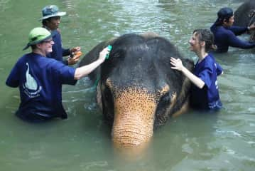 Me and a friend in Chiang Mai, Thailand giving Meenah the elephant a bath!
