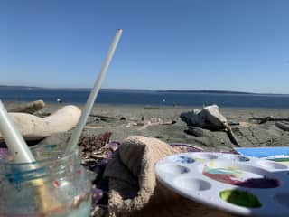 I love to paint at the beach.