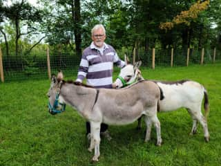 Jeff with Elmo and Eddie our miniature donkeys.