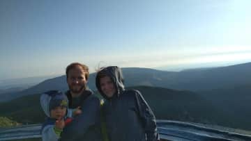 Our family at the top of Snezka (our highest mountain 1620 m)