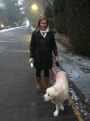 Walking Nicholas in the snow!