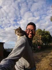 Me and Feros, one of the cats I met in France