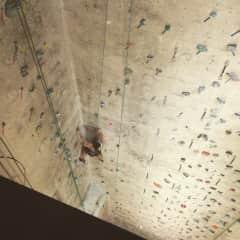 Me rock-climbing an elevator shaft in Boston.