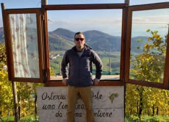 In northern Italy overlooking some vineyards, about a month before the pandemic hit.