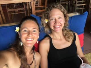 Me and my dear friend Reggie after we rode for hours on scooter in the rain in Bali.