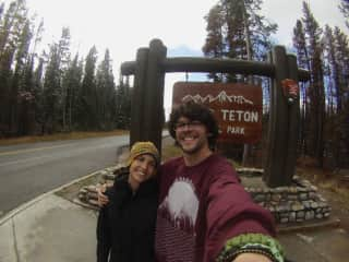 Here we are outside of Grand Teton National Park on our road trip in October 2016.