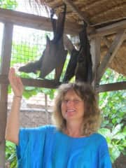 Me with flying foxes, Bali