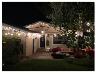 enclosed front yard at night