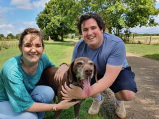 Sherri and Tom at our most recent pet sit in Oxfordshire with the lovely Herbie.