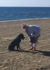 Alfie on the San Pedro beach