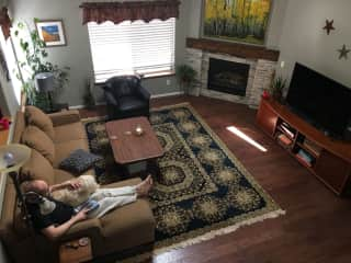 Living room with cozy gas fireplace.