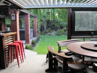Outdoor seating area with bbq