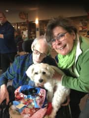Max the visiting therapy dog making seniors smile !