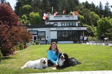 SweetPea and Henry with their Mom in the San Juan Islands.