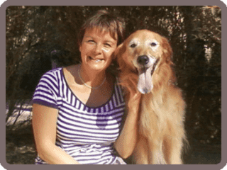 With my beloved therapy dog Bonus  ( 2004 -2016)
