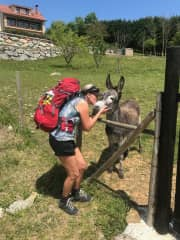 Audra with the sweetest Donkey in San Vicente, Spain
