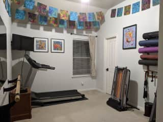 If you like to workout, we have a dedicated fitness room, including a treadmill, free weights, and other home exercise equipment, which you are free to use.