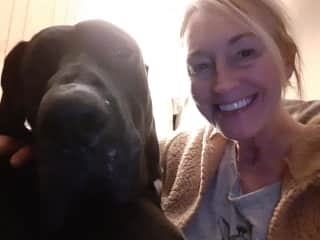Apollo, a Great Dane and Me in January 2020.