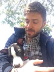 Victor with a friend's dog in Prizren, Kosovo