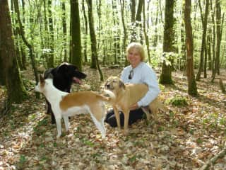 Myself with my dogs in the forest in France