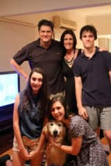 Family photo with our Golden Retriever Cessna