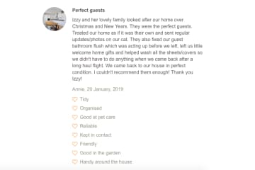 A screenshot of a testimonial left for us via a different housesitting platform in Jan 2019