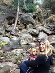 Macy doggie and myself . Solstice canyon walk in Malibu, Ca