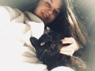 A relaxing morning in my bathrobe getting some kitty cuddles