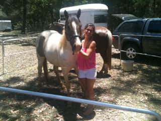 My horse and I camping in the nature