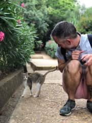 Tyler with a friendly cat in Morocco