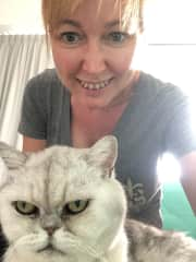 Me with a cat that I was caring for