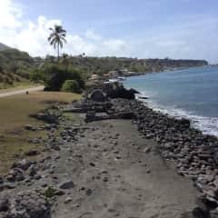 Caribbean Bay with rocky beach.