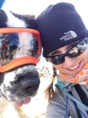 Noel and pooch at top of Colorado 14er