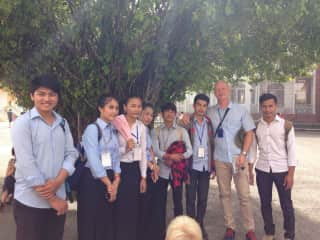 Meeting students in Cambodia.