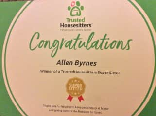 Award from Trusted House Sitters