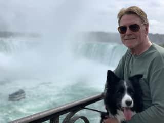 Lawrie and Blaze the border collie. Niagara Falls, Ontario, Canada. September, 2019.