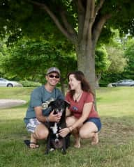 Us with our lovely pooch!