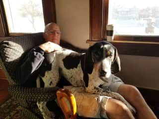 Mike and Augie(our son's dog)