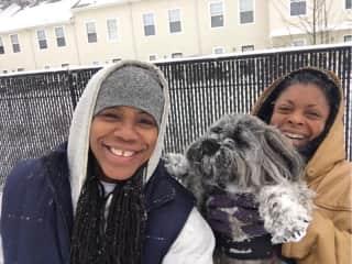 Jetta, Vanessa and Jaxson playing in the snow.