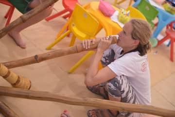 Practicing the didgeridoo (Dead Sea, Israel)