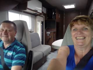 Dave and l in our motorhome. Our very favourite place, adventures and new experiences !!
