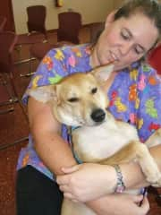 I was in vet school in the picture and cuddling a dog in the shelter program who we later adopted. Her name was Gisele, and she decided Jason was her person.